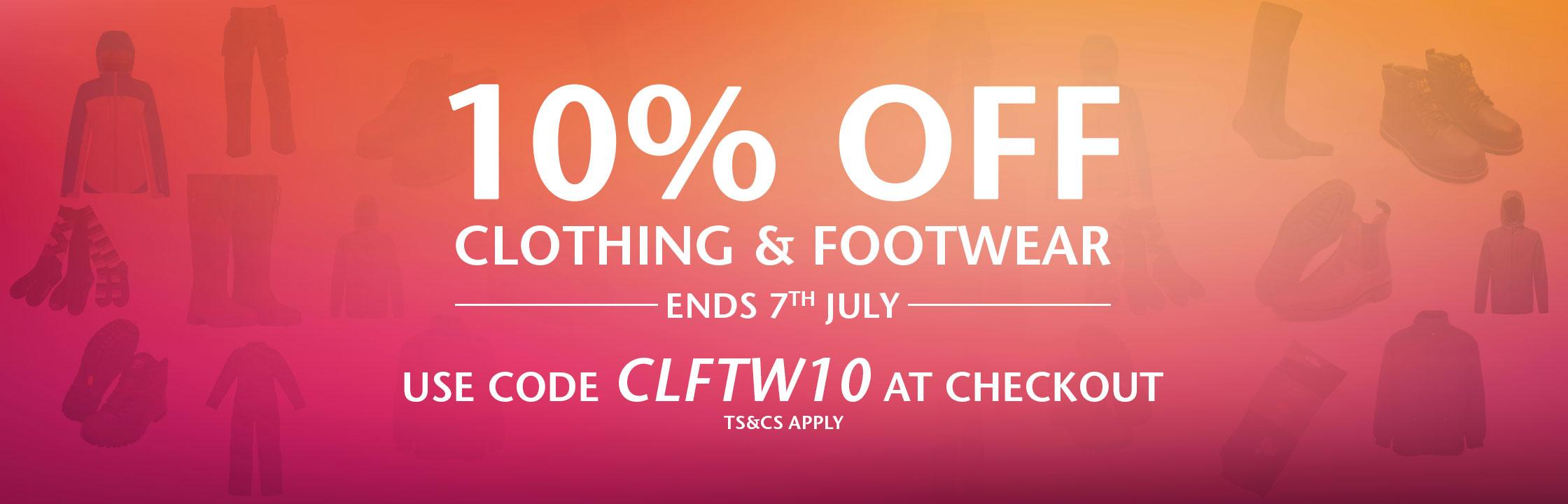 10% OFF Clothing & Footwear banner image
