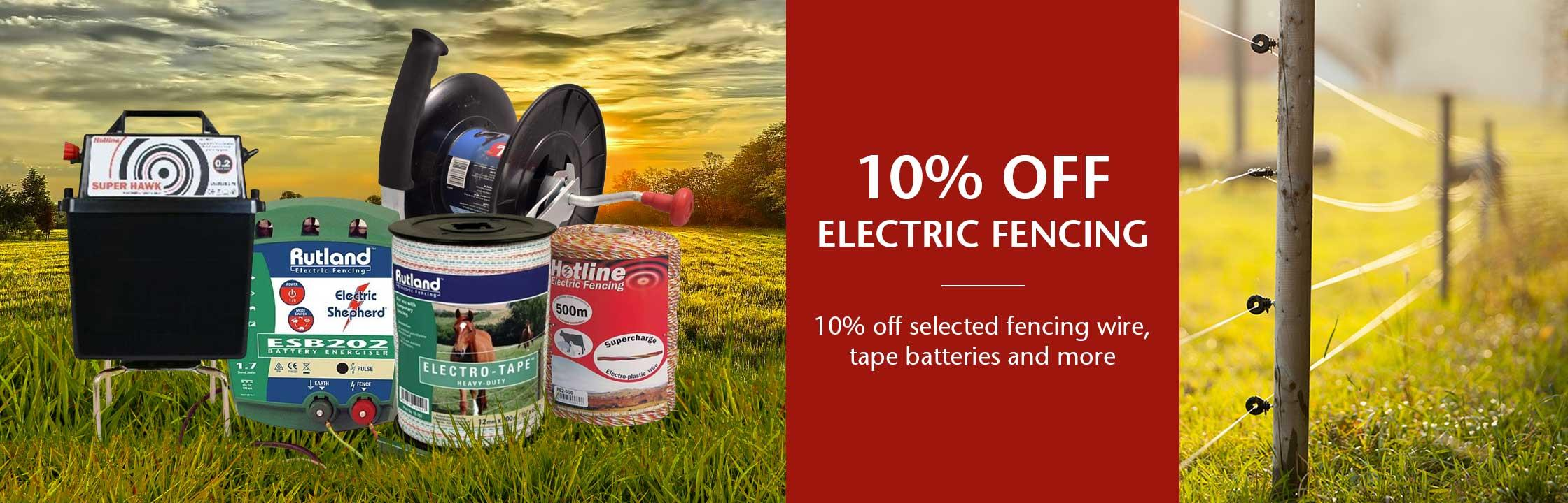 10% off selected products in Electric Fencing banner image