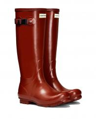 Hunter Ladies Norris Side Adjustable Field Wellington Boots in Burnt Sienna  image