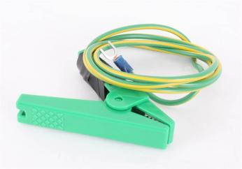 Green Crocodile Clip with Lead & Fork Terminal image