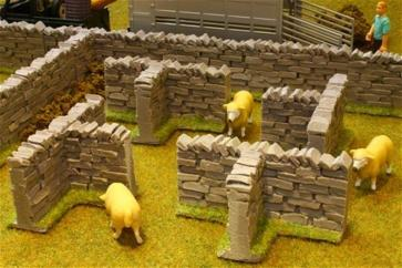 Brushwood T Section Stone Wall 4 Pack 1:32  image