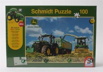 John Deere 7310R Tractor with 8600i Forage Harvester Jigsaw Puzzle & Siku Tractor image