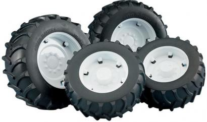 Bruder Twin Wheel Additions with White Rims for Tractors 1:16  image