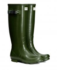 Hunter Ladies Norris Side Adjustable Field Wellington Boots in Vintage Green  image