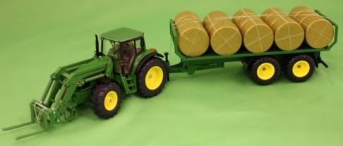 Siku 3862 Tractor with Loader & Round Bale Trailer image