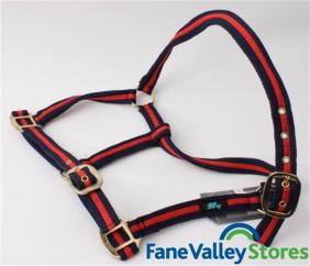HY Soft Webbing Head Collar Navy & Red image