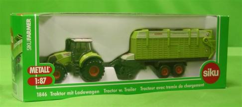 Siku Claas Axion Tractor With Trailer  image