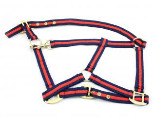 HY Soft Webbing Head Collar Navy & Pink image