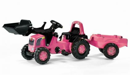 Rolly 02453 Pink Tractor with Loader & Trailer image