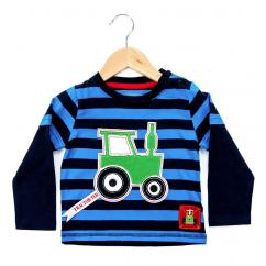 Tractor Ted Stripey Applique Long Sleeve Blue T-Shirt image