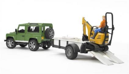 Bruder Land Rover Defender with Trailer & JCB 8010 CTS Micro Excavator & Figure  image