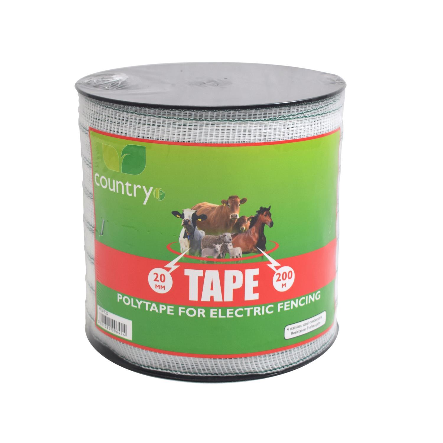Country 20mm White Electric Poly Fence Tape