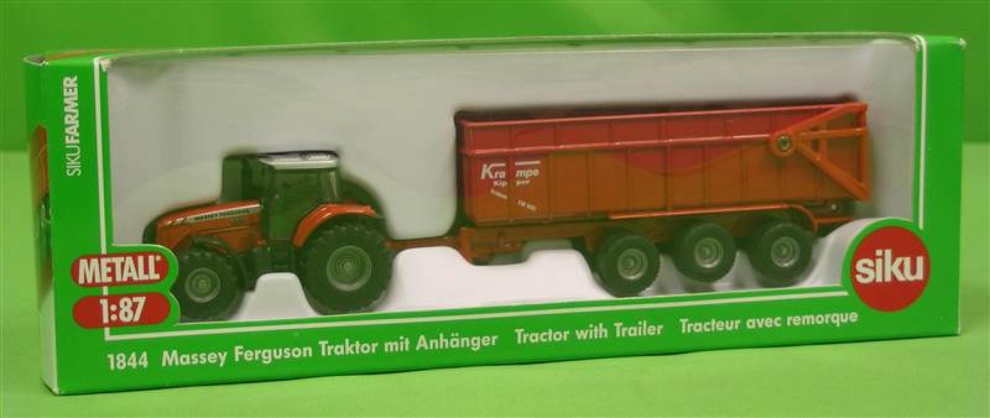 Siku Traktor Massey Ferguson mit Anhänger  1:87  1844 NEU Spielzeugautos