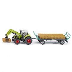 Siku Claas Tractor with Loader & Bale Trailer image